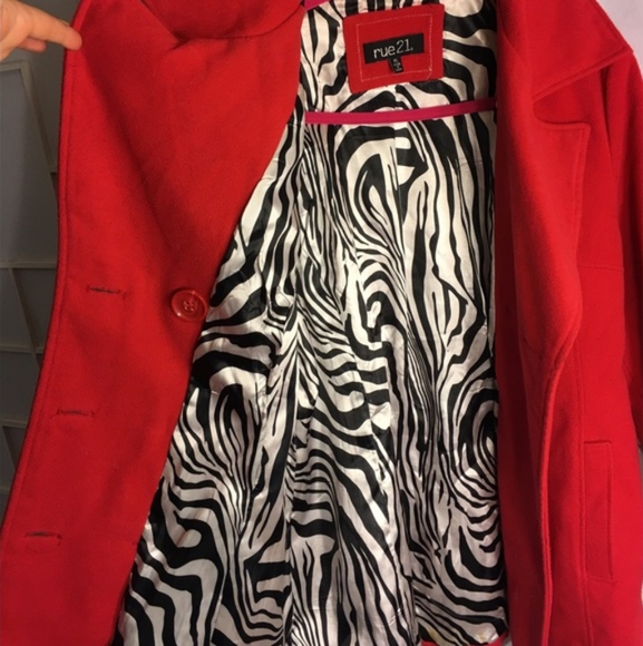 Red/ Zebra print pea coat Rue21